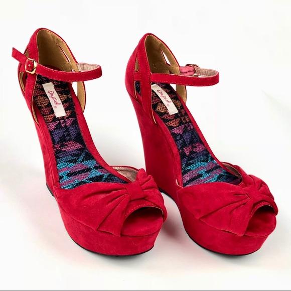 8368a911e Charlotte Russe Shoes   Qupid Red Suade Platform Heels   Poshmark